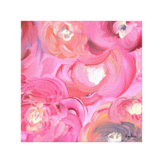 Celebrate Life with Bright, Floral Abstract Roses Canvas Print