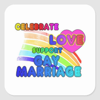Celebrate Love-Support Gay Marriage Square Sticker