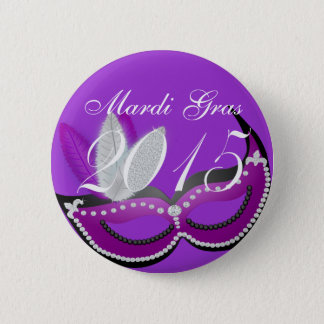 Celebrate Mardi Gras 2015 Venetian Mask 6 Cm Round Badge