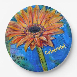 Celebrate on Gerbera Joy Painted plate