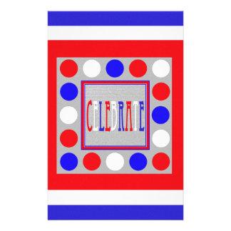 Celebrate Polka Dots and Stripes in RWB Customized Stationery