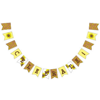 Celebrate Sunflower brown and yellow Party Banner