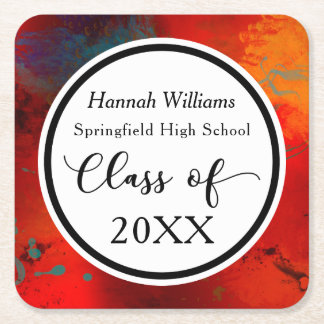 Celebrate the Graduate; Artsy Red Design Square Paper Coaster