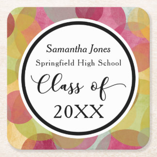 Celebrate the Graduate, Multicolored Bubbles Square Paper Coaster