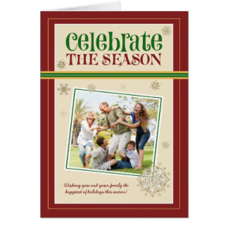 Celebrate the Season Family Holiday Card (maroon)