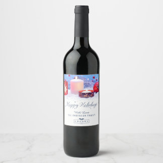 Celebrate the Season Peaceful Happy Holiday Cheers Wine Label