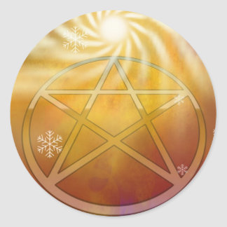 Celebrate the Warmth of the Yule Sun Classic Round Sticker