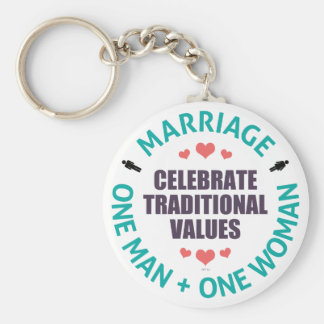 Celebrate Traditional Values Basic Round Button Key Ring