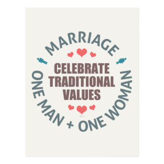 Celebrate Traditional Values Postcard