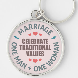 Celebrate Traditional Values Silver-Colored Round Key Ring