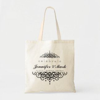 Celebrate Wedding Event Tote Favor in Black Budget Tote Bag
