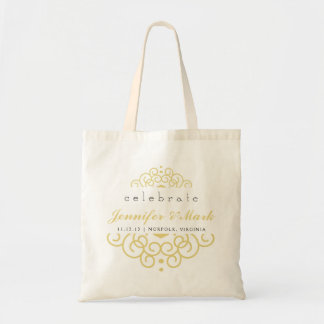 Celebrate Wedding Event Tote Favor in Yellow Gold Budget Tote Bag