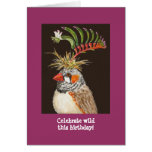 Celebrate wild this birthday! zebra finch card