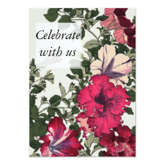 Celebrate with us Ruffled Pink Petunias Card