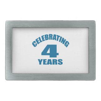 Celebrating 04 Years Birthday Designs Rectangular Belt Buckle