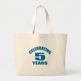 Celebrating 05 Years Birthday Designs Large Tote Bag