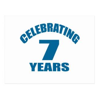 Celebrating 07 Years Birthday Designs Postcard