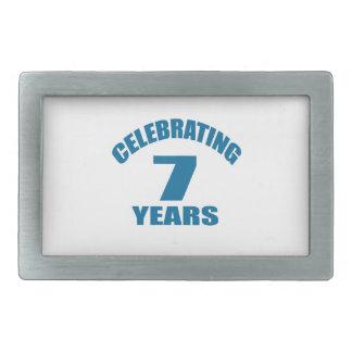 Celebrating 07 Years Birthday Designs Rectangular Belt Buckle