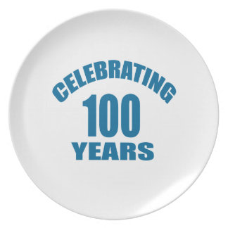 Celebrating 100 Years Birthday Designs Plate