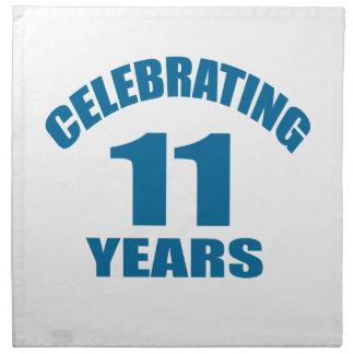 Celebrating 11 Years Birthday Designs Napkin
