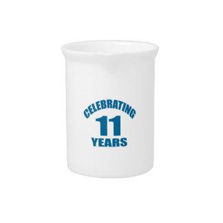 Celebrating 11 Years Birthday Designs Pitcher