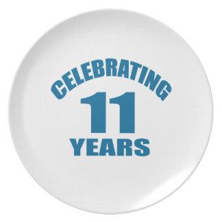 Celebrating 11 Years Birthday Designs Plate