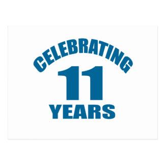 Celebrating 11 Years Birthday Designs Postcard