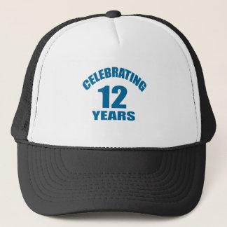 Celebrating 12 Years Birthday Designs Trucker Hat