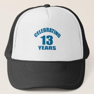 Celebrating 13 Years Birthday Designs Trucker Hat