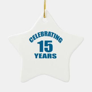 Celebrating 15 Years Birthday Designs Ceramic Ornament