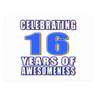 Celebrating 16 years of awesomeness postcards