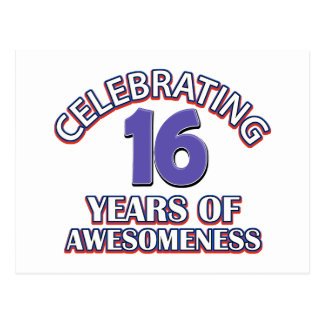 Celebrating 16 years of awesomeness postcard
