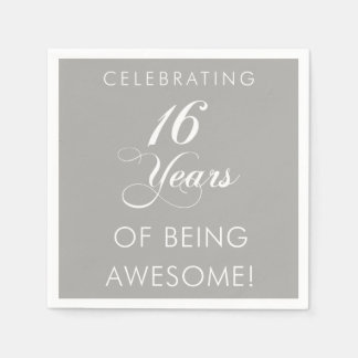 Celebrating 16 Years Of Being Awesome Party Disposable Serviettes