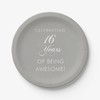 Celebrating 16 Years Of Being Awesome Party Paper Plate