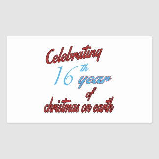Celebrating 16th year of christmas on earth rectangle stickers