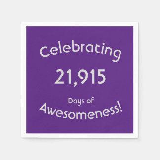 Celebrating 21,915 Days Of Awesomeness Birthday Disposable Napkin