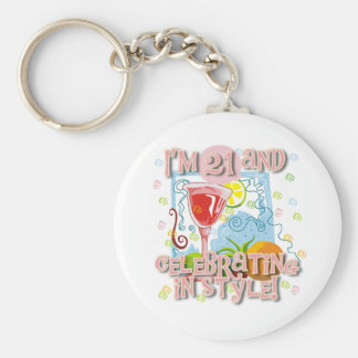 Celebrating 21 in Style Basic Round Button Key Ring