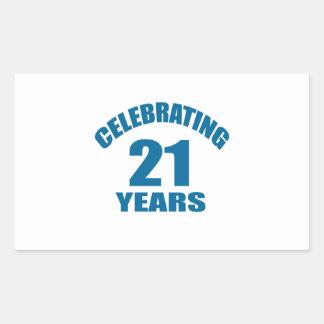 Celebrating 21 Years Birthday Designs Rectangular Sticker