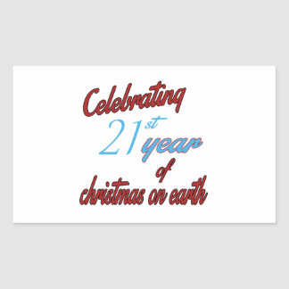 Celebrating 21st year of christmas on earth rectangle stickers