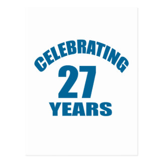 Celebrating 27 Years Birthday Designs Postcard