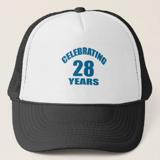 Celebrating 28 Years Birthday Designs Trucker Hat
