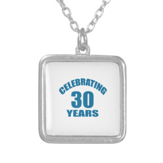 Celebrating 30 Years Birthday Designs Silver Plated Necklace