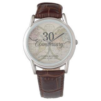 Celebrating 30th Anniversary. Vintage World Map. Wrist Watches