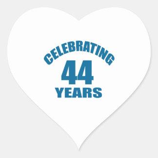 Celebrating 44 Years Birthday Designs Heart Sticker