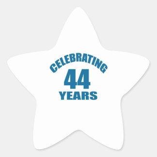 Celebrating 44 Years Birthday Designs Star Sticker