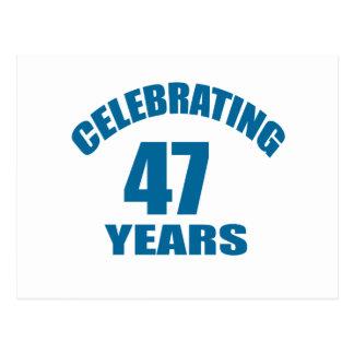 Celebrating 47 Years Birthday Designs Postcard