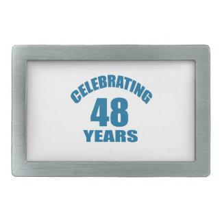 Celebrating 48 Years Birthday Designs Rectangular Belt Buckle