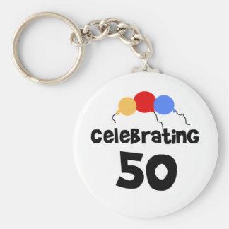 Celebrating 50 basic round button key ring