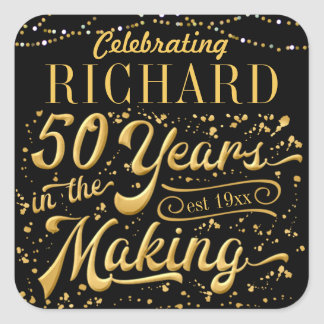 Celebrating 50 Years in the Making (50th Birthday) Square Sticker