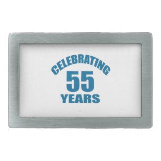 Celebrating 55 Years Birthday Designs Rectangular Belt Buckle
